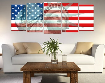 American Flag Canvas Wall Art, Statue of Liberty, 5 Panel Canvas, Home Decor Wall, Patriot Art