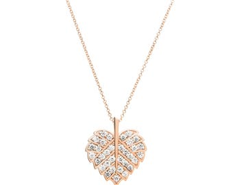 "Heart Leaf ""True Love"" Diamond Pendant — 100% Ethical and Eco — 18K Recycled Rose Gold"