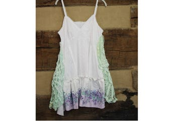 Womens Bohemian Camisole Tunic Top Crochet Doily White Purple Floral Boho Chic Upcycled Hippie Clothes  ( 31 ))