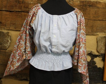 Boho Country Chic Top Womens Upcycled Gypsy Top Hippie Clothes Shirred Chambray Shirt Peasant Blouse Retro Festival Wear Large to XL