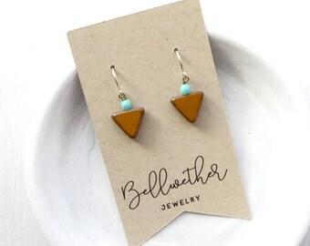Small Earrings / Beaded Earrings / Yellow Earrings / Boho Earrings / Petite Earrings / Small Gift For Her / Triangle Earrings / Simple
