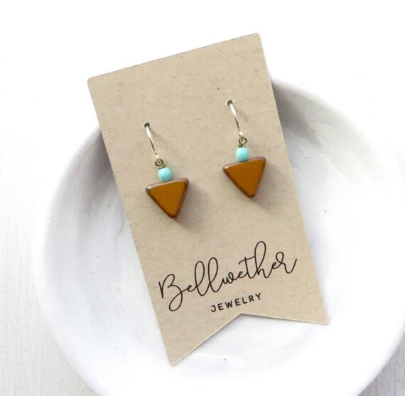 Small Angle Earrings - Mustard