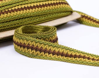 Vintage French Passementerie trim by the yard - Home decor trim - Green braid trim 4cm wide - upholstery trim - woven trim
