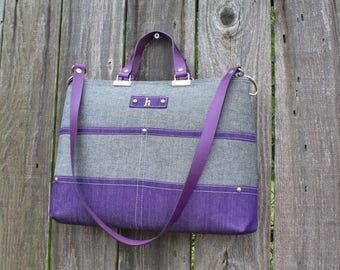 Chic Gray Chambray and Purple Denim zipper close purse, double strap handbag shoulder bag, with leather straps and personalized initial