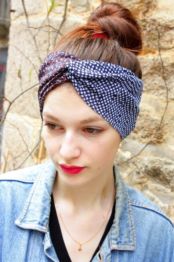Turban headband hair Retro blue polka dots white Viscose and Jersey blue-Brown bubble