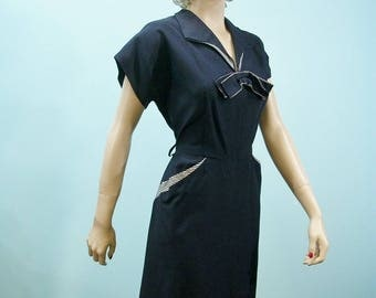 40s 50s Dress . Vintage Navy Blue Dress with Striped Trim . Large to Extra Large