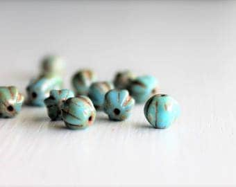 25 Blue Turquoise Picasso 6mm Czech Glass Melon Beads