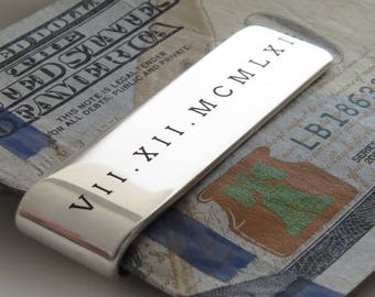 Gift for Him • Money Clip • Custom Engraved Date • Sterling Silver • Bill Clip • Roman Numeral • Father's Day • Boyfriend Anniversary Gift