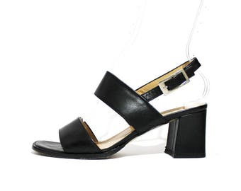 1990s Black Leather Strappy Mules Sandals Platforms