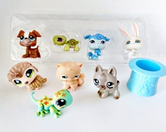 Eight Littlest Pet Shop LPS figurines, Hedgehog, Poodle, Cat, Frog, Brown Dogs, Frog, Rabbit, Game Pieces party supply favors cake toppers