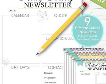 9 EDITABLE Relief Society Newsletters - INSTANT DOWNLOAD