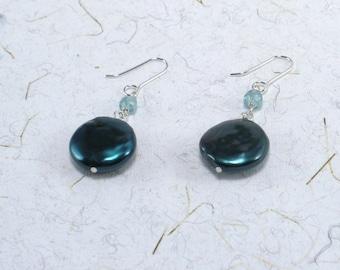 Teal Pearl EarringsTeal Gemstone Earrings Long Dangle Drop Earrings Teal Aqua Drop Sterling Deep Teal Freshwater Pearls Earrings For Her