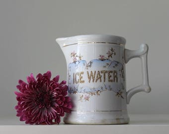 Ironstone Ice Water Pitcher, Antique Ice Water Pitcher, Transferware Water Pitcher, Figural Lettering, Knowles Taylor Knowles, White Pitcher