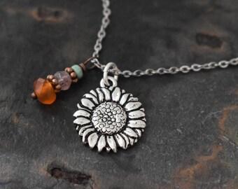 Sunflower Turquoise, Strawberry Quartz and Carnelian Necklace
