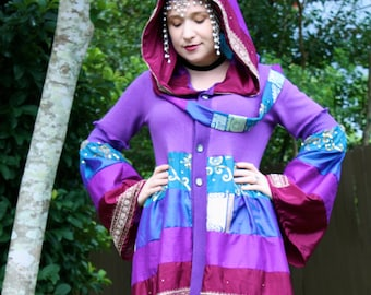 Silk Sari Bustle Coat - Upcycled Sweater Coat with a Medieval Liripipe Hood and Bell Sleeves- by SnugglePants