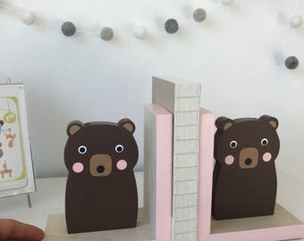 Brown Bear Bookends, Light Pink, Baby Girl Woodland, Girl Woodland Decor, Girl Forest Themed Decor, Kids Bookends, Nursery Decor, Baby Bear