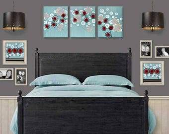 Canvas Painting Wall Art - Red Flower Art on Large Triptych in Blue Black and Red - 50x20