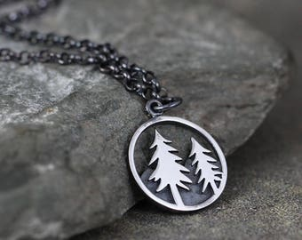 Pine Tree Pendant - Sterling Silver Rustic Necklace - Camping and Outdoor - Nature Inspired Jewellery