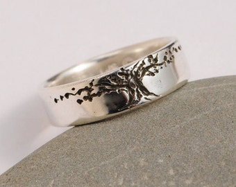 Tree of Life band 6.5 mm wide sterling wedding band high polish Mans Women's silver ring