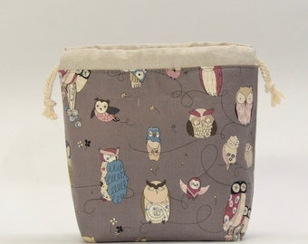 Spotted Owl Gray Small Drawstring Knitting Project Craft Bag - READY TO SHIP