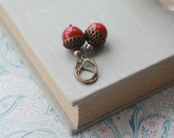 Red Acorn Earrings. Christmas Stuffer, Vintage Rustic Inspired Big Red Pearls Earring. Winter Woodland Wedding Bridesmaids Gift Fall Wedding