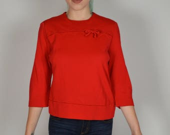 Red Blouse, Vintage 50s Blouse, Jackie O Style, 1950s Blouses, Preppy Top, Pin Up Girl Top, Rockabilly Tops,