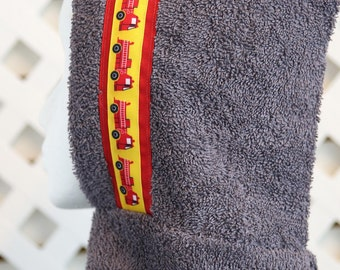 Gray Firetruck, Frog or Crab Hooded Towel; Perfect for bath time or pool time. Can be personalized on the towel.
