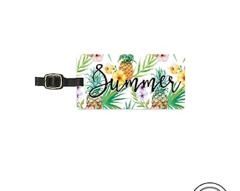 Luggage Tag  Summer Pineapple Tropical Metal Luggage Tag  With Printed Custom Info On Back, Single Tag