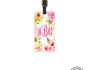 Luggage Tag Monogram Cottage Chic Watercolor Floral  - Personalized Address or Info on back - Single Tag