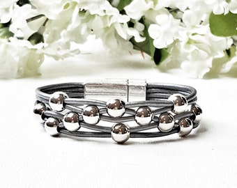 Womens Leather Bracelet - Gray Leather Bracelet -  Gift Boxed - Silver Beaded - Free Shipping - Womens Jewelry - Gift for Her