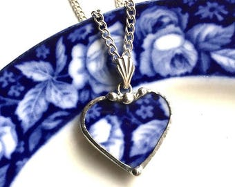 Broken China Jewelry. Recycled china - petite - heart pendant necklace - Antique English Flow Blue roses - broken china jewelry