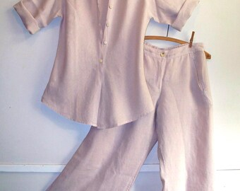 80s/90s minimalist palest pinky mauve linen asian influenced shirt and cropped pants set