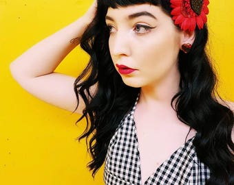 Pinup Love Kitty Kitty Hair Flower - Red - Black - 50s - Rockabilly - Feline - Pin Up - Retro