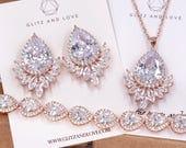 Rose Gold Wedding Bride Bridesmaid Gift Bridal Earrings Necklace Bracelet Jewelry Set Clear Cubic Zirconia Teardrop Ear Studs E309 B85 N227