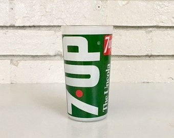 Vintage 7 Up Uncola Soda Bar Glass // Green Glass