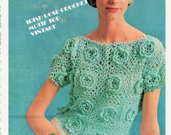 Crochet Pattern - Women's Irish Rose Crochet Top/Tunic/Blouse/Granny Motif short sleeve 32-36 bust - Instant PDF download