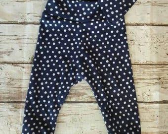 Blue Polka Dot Bib Set, Baby Harem Pants, Baby Joggers, New baby gift Set, Bandana Bib. Organic cotton bib, Organic Cotton baby gift,
