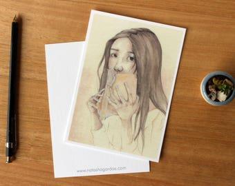 Lover Of Books 1 - Art Postcard. Watercolour Illustration. Reading. Stationary