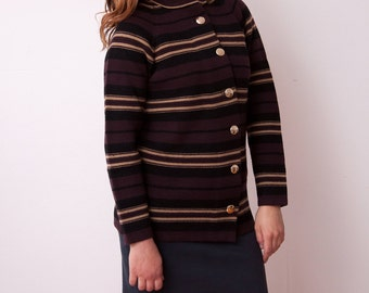 Vintage Striped Sweater - VTG Button Down Sweater with High Collar - Brown Sweater with Big Buttons - Size Large - Gift For Her