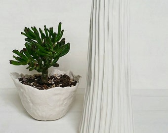 SNOWDRIFT - A unique textured vase.  Home decor.  White.  Sculptural vase.  Porcelain vase.