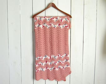 Crochet Baby Blanket Handmade Girls Blanket Pink Blue White Stripes Wave Stitch Knit Stroller Blanket 33 x 30 Inches