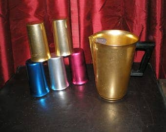 "Aluminum Drink-Ware ""Sunburst"" Atomic Age- 5 Tumblers 1 Pitcher Set- Anodized Aluminum Metal Vintage Retro 40s/50s"