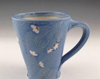 Handmade Blue Mug With Vines and Flowers