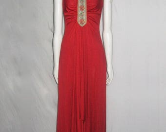 Vintage Reddish Orange Jewel Tie Back Neck Center Front Floral Tapestry Trim Shirring Flared Long Disco Grecian