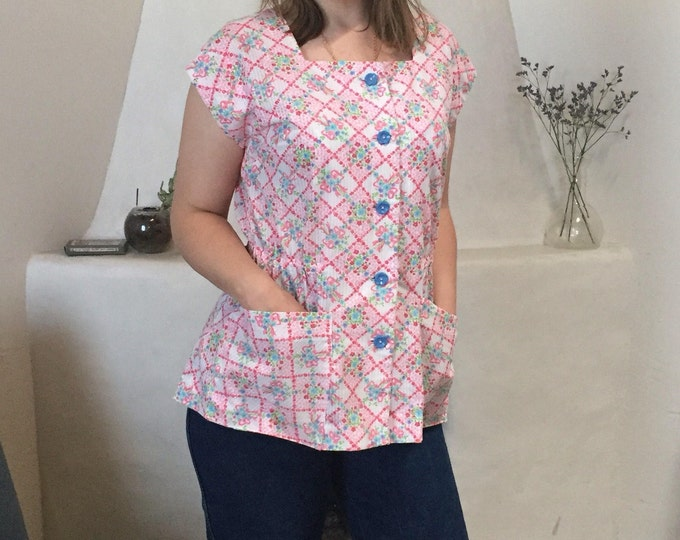 Kitsch Button-Up | 60s vintage floral pattern print short sleeve square neck womens shirt top extra large XL womens elastic waist L pink fun