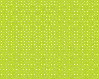 Lime Green Polka Dot Fabric - Riley Blake Swiss Dots - Lime Green - Green and White Polka Dot Fabric By The 1/2 Yard
