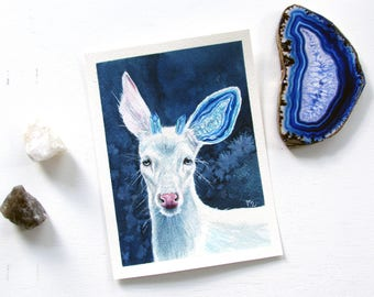 Achates - Surreal Deer Watercolor Painting Print Crystal Agate Art