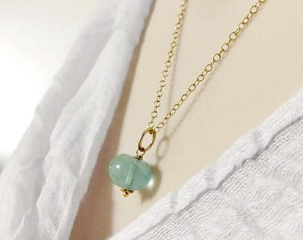 Green Blue Fluorite Pendant - Polished Stone Fluorite Sphere - Heart Chakra Crystals and Minerals - Sterling Silver Charm - 14k Gold Pendant