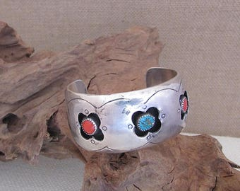 Vintage 60s Bracelet   1960's Silver, Turquoise and  Coral Navajo Cuff   Shadowbox Cuff   Native American, Boho, Bohemian, Jewelry