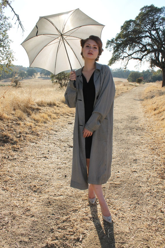 SINGING in the RAIN Vintage 1950's Rare Raincoat and Matching Umbrella Set Gingham Novelty Pearl and Rhinestone Monogram Aplique